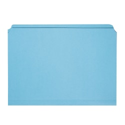 SKILCRAFT® Straight-Cut Color File Folders, Letter Size, 100% Recycled, Blue, Box Of 100