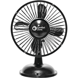 Comfort Zone CZ5USBBK Desk Fan - 4 Blades - 2 Speed - Oscillating, Quiet, USB Charging Port, Battery Operated - Black