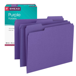 Smead® Color File Folders, Letter Size, 1/3 Cut, Purple, Box Of 100