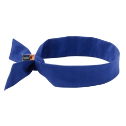 Ergodyne Chill-Its 6700FR Evaporative Cooling Bandanas With Ties, Blue, Pack Of 6 Bandanas