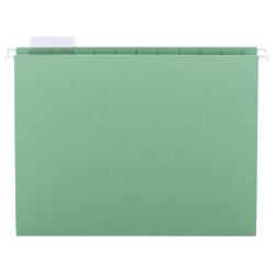 Smead® Hanging File Folders, 1/5-Cut Adjustable Tab, Letter Size, Bright Green, Box Of 25