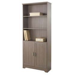 "Realspace® Magellan 72"" 5 Shelf Contemporary Bookcase with Doors, Gray/Medium Finish, Standard Delivery"