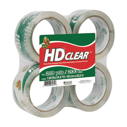 "Duck® HD Clear™ Heavy-Duty Packaging Tape, 1.88"" x 54.6 Yd., Clear, Pack Of 4 Rolls"