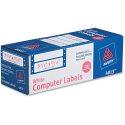 """Avery® High-Speed Continuous Form Permanent Address Labels, 4013, 3 1/2"""" x 15/16"""", White, Pack Of 5,000"""