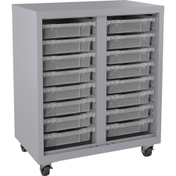 Lorell Pull-out Bins Mobile Storage Unit, Platinum/Clear