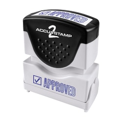 "ACCU-STAMP2® Approved Stamp, Shutter Pre-Inked One-Color APPROVED Stamp, 1/2"" x 1-5/8"" Impression, Blue Ink"