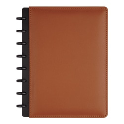 TUL® Discbound Notebook, Junior Size, Leather Cover, Brown