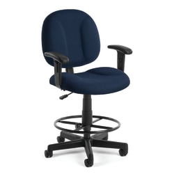 OFM Comfort Series Superchair Task Chair With Drafting Kit, Navy/Black, 105-AA-DK-804