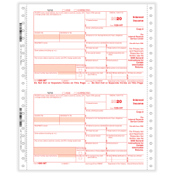 "ComplyRight 1099-INT Tax Forms, 4-Part, 2-Up, Copies A/State/B/C, 9"" x 11"", Pack Of 100 Forms"