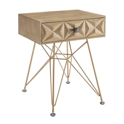 Linon Monte 1 Drawer Accent Table Gold Office Depot