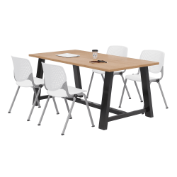 """KFI Studios Midtown Table With 4 Stacking Chairs, 30""""H x 36""""W x 72""""D, Kensington Maple/White"""