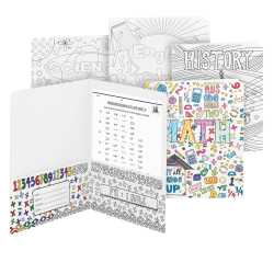 Smead® 2-Pocket Card Stock Coloring Folders, Letter Size, White, Pack Of 4 Folders