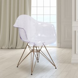 Flash Furniture Allure Series Polycarbonate Side Chair, Clear/Gold