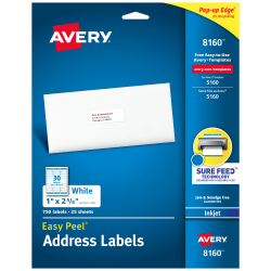 "Avery® Easy Peel® Address Labels With Sure Feed™ Technology, 8160, 1"" x 2 5/8"", White, Box Of 750"