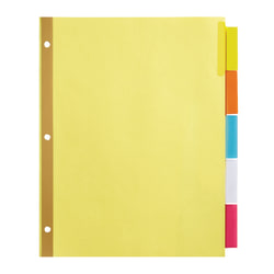 Office Depot® Brand Insertable Dividers With Big Tabs, Buff, Assorted Colors, 5-Tab