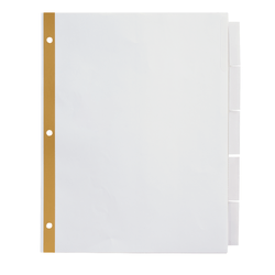 Office Depot® Brand Insertable Dividers With Big Tabs, White, Clear Tabs, 5-Tab