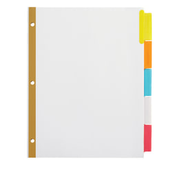 Office Depot® Brand Insertable Dividers With Big Tabs, White, Assorted Colors, 5-Tab