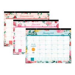 """Blue Sky™ Monthly Desk Pad Calendar, 22"""" x 17"""", Reflections, January to December 2021, 117886"""