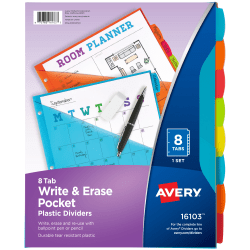 "Avery® Durable Write-On Plastic Dividers With Pockets, 8-1/2"" x 11"", Multicolor, Pack Of 8 Dividers"