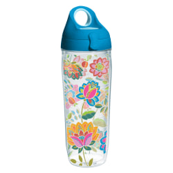 Tervis Boho Floral Chic Water Bottle With Lid, 24 Oz, Clear