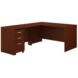 """Bush Business Furniture Components 60""""W L-Shaped Desk With 3-Drawer Mobile File Cabinet, Mahogany, Standard Delivery"""