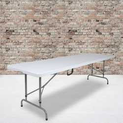 """Flash Furniture Commercial Height-Adjustable Bi-Fold Plastic Banquet And Event Folding Table, 34""""H x 29""""W x 96""""D, Granite White"""