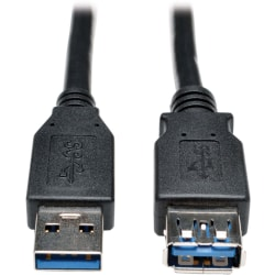 Tripp Lite USB 3.0 SuperSpeed Extension Cable - USB-A to USB-A, M/F, Black, 3 ft. (0.9 m) - First End: 1 x USB Type A Male USB - Second End: 1 x USB Type A Female USB - 5 Gbit/s - Extension Cable - Nickel Plated Connector - 28/24 AWG - Black