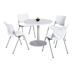 KFI Studios KOOL Round Pedestal Table With 4 Stacking Chairs, White