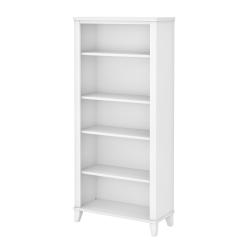 "Bush Furniture Somerset 66""H 5-Shelf Bookcase, White, Standard Delivery"