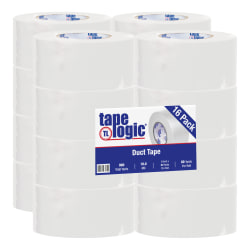 "Tape Logic® Color Duct Tape, 3"" Core, 3"" x 180', White, Case Of 16"