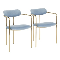 LumiSource Demi Chairs, Light Blue/Gold, Set Of 2 Chairs