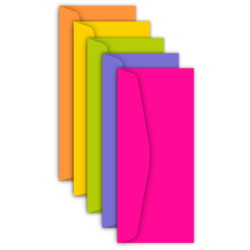 "Astrobrights® Color Envelopes, #10, 4 1/8"" x 9 1/2"", 24 LB, Happy 5-Color Assortment, Pack Of 50"