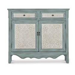 "Powell Balfour 2-Door Console Table, 40-1/4""H x 36-1/4""W x 11-1/4""D, Blue/White"