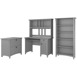 Bush Furniture Salinas Mission Desk With Hutch, Lateral File Cabinet And 5 Shelf Bookcase, Cape Cod Gray, Standard Delivery