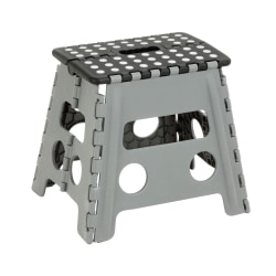 "Honey-can-do TBL-02977 Folding Step Stool, Black - Black Seat - Four-legged Base - Gray - Plastic, Foam - 11.88"" Seat Width x 14.57"" Seat Depth - 14.6"" Length x 11.9"" Width - 12.9"" Height - 1"