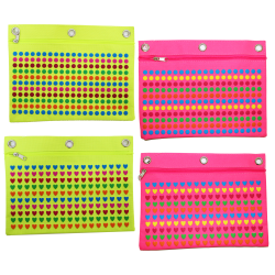 Inkology Puffy Print Binder Pencil Pouches, Assorted Colors, Pack Of 8 Pouches