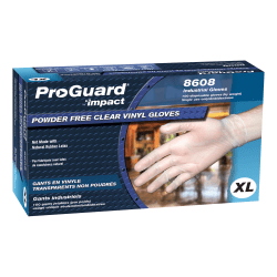 ProGuard Vinyl PF General Purpose Gloves - X-Large Size - Unisex - Vinyl - Clear - Disposable, Powder-free, Beaded Cuff, Ambidextrous, Comfortable - For Food Handling, Cleaning, Painting, Manufacturing, Assembling, General Purpose - 100 / Box