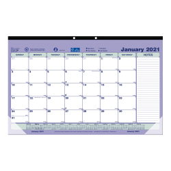 """Brownline® Classic Monthly Desk Pad Calendar, 10-7/8"""" x 17-3/4"""", January to December 2021, C181700"""