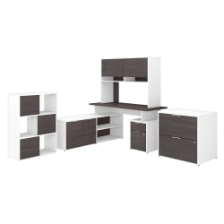 """Bush Business Furniture Jamestown 60""""W L-Shaped Desk With Hutch, Lateral File Cabinet And 6-Cube Organizer, Storm Gray/White, Standard Delivery"""