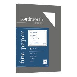 Southworth 25% Cotton Wove Cover Stock, Letter Size, White, Pack Of 100 Sheets
