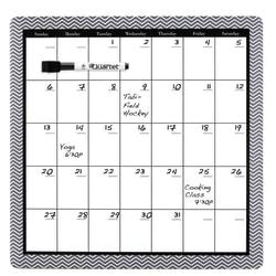 "Quartet® Home Organization Magnetic Monthly Dry-Erase Board Calendar, Frameless, Fiberboard, 14"" x 14"", Black/White"