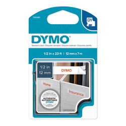 "DYMO® D1 1761281 Red-On-White Tape, 0.5"" x 23'"