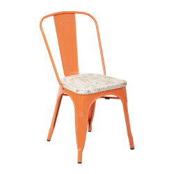 Office Star™ Bristow Armless Chairs with Wood Seats, Orange/ Pine White, Set Of 4 Chairs