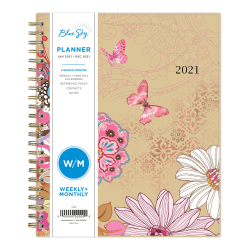 """Blue Sky™ Polypropylene Weekly/Monthly Planner, 7"""" x 9"""", Lianne Pink, January to December 2021, 117908"""