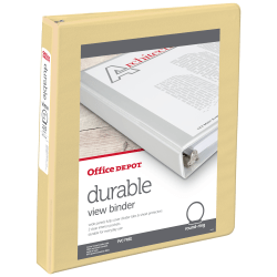 """Office Depot® Brand Durable View 3-Ring Binder, 1"""" Round Rings, 49% Recycled, Yellow"""