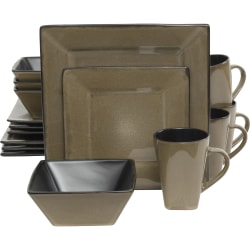 Gibson Kiesling Taupe 16 pc DW Set - Dinner Plate, Dessert Plate, Soup Bowl, Mug - Stoneware - Dishwasher Safe - Microwave Safe - Taupe - Glazed