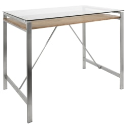 Lumisource Hover Mid-Century Modern Counter Table, Rectangular, Glass/Walnut/Stainless Steel