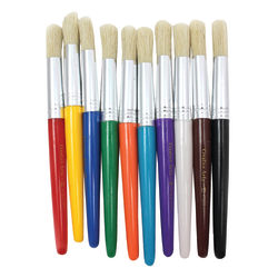 "Charles Leonard, Inc. Round Stubby Brushes, 3/4"", Round Bristles, Hog Hair, Assorted Colors, 3 Packs Of 10"