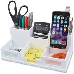 "Victor W9525 Pure White Desk Organizer with Smart Phone Holder- 6 Compartment(s) - 3.5"" Height x 5.5"" Width x 10.4"" Depth - White - Wood, Frosted Glass, Rubber - 1 Each"