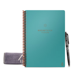 """Rocketbook Fusion Executive Size Notebook, 6"""" x 8-7/8"""", 42 Pages, Teal"""